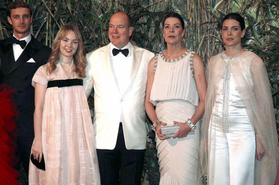 Le prince Albert II de Monaco et la princesse Caroline de Hanovre avec ses enfants à Monaco, le 19 mars 2016