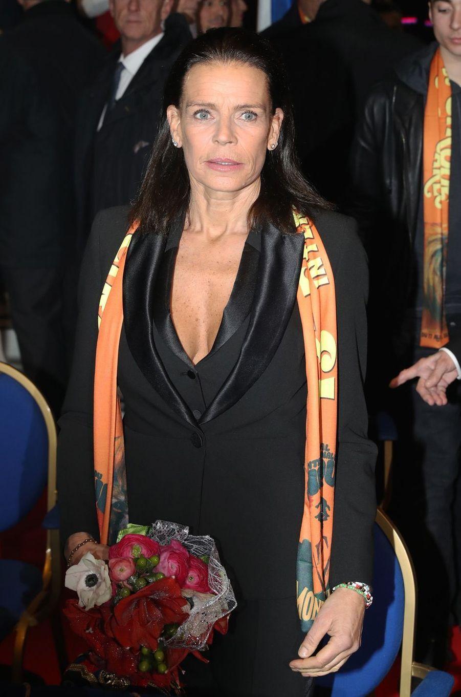 La princesse Stéphanie de Monaco, à Monaco le 17 janvier 2019