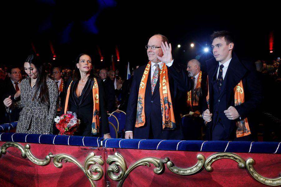 La princesse Stéphanie et le prince Albert II de Monaco, avec Louis Ducruet et Marie Chevallier, à Monaco le 17 janvier 2019