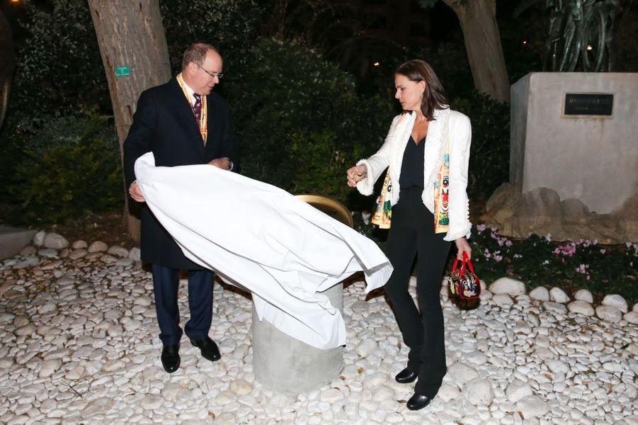 La princesse Stéphanie et le prince Albert II de Monaco à Monaco, le 18 janvier 2018