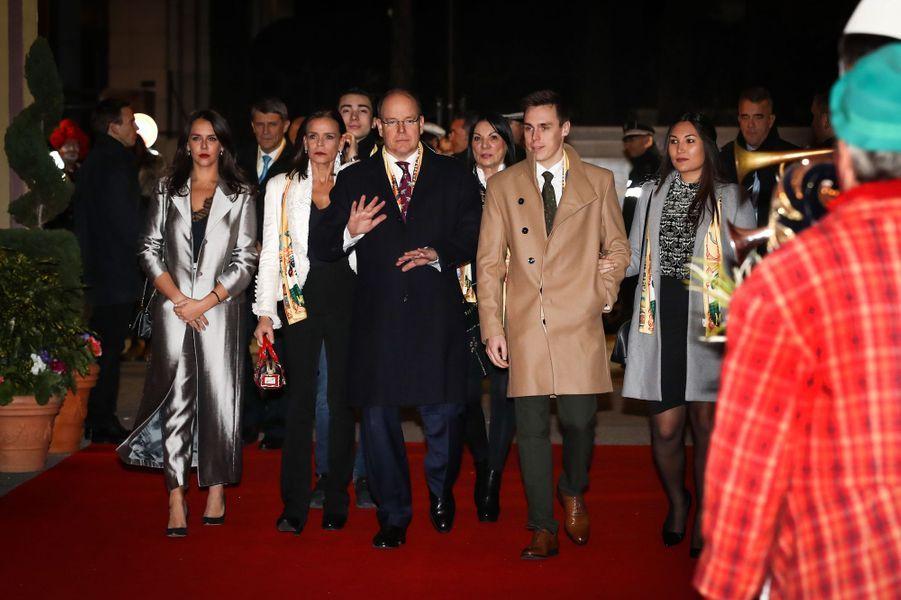 La princesse Stéphanie et le prince Albert II de Monaco avec Pauline Ducruet, Louis Ducruet et sa compagne Marie à Monaco, le 18 janvier 2018