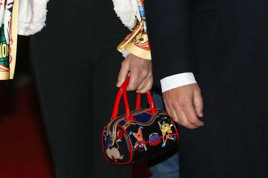 """Le sac """"cirque"""" de la princesse Stéphanie de Monaco à Monaco, le 18 janvier 2018"""