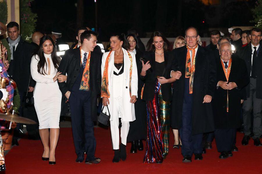 La princesse Stéphanie et le prince Albert II de Monaco avec Louis Ducruet, sa fiancée Marie Chevallier et Pauline Ducruet à Monaco, le 22 janvier 2019