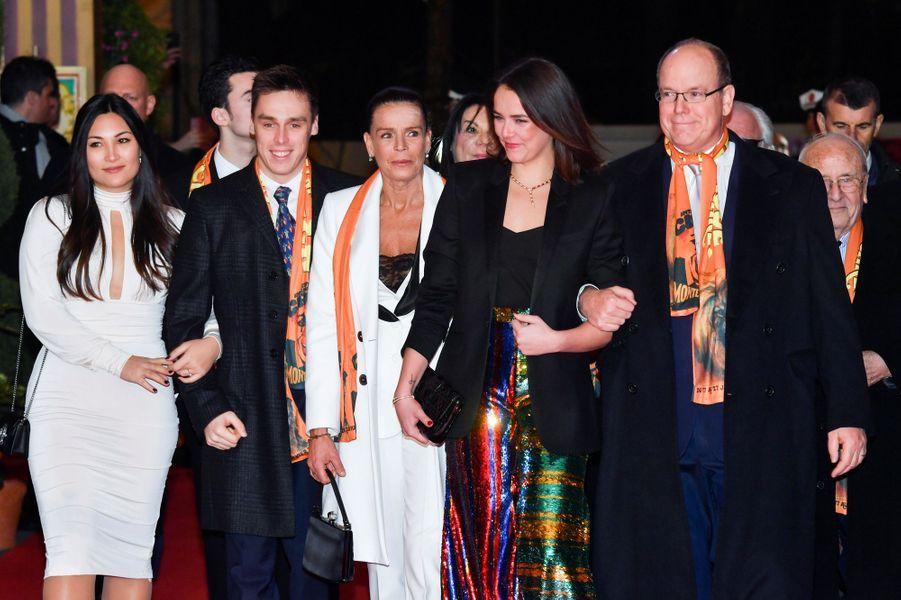 La princesse Stéphanie de Monaco avec le prince Albert II, Louis Ducruet, sa fiancée Marie Chevallier et Pauline Ducruet à Monaco, le 22 janvier 2019