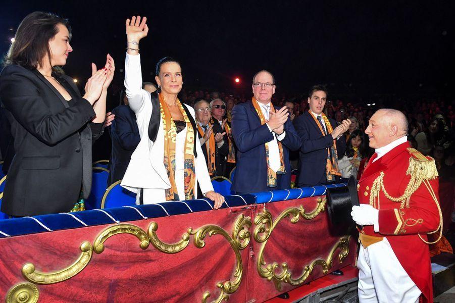 La princesse Stéphanie et le prince Albert II de Monaco avec Pauline et Louis Ducruet à Monaco, le 22 janvier 2019