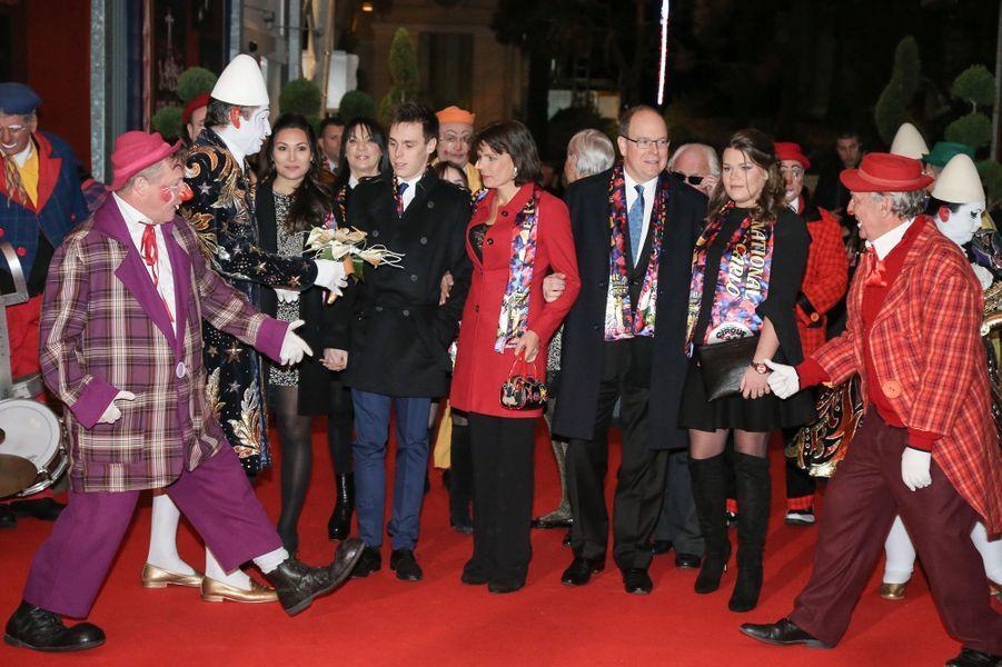 La princesse Stéphanie de Monaco, le prince Albert II de Monaco, Louis Ducruet, son amie Marie, et Camille Gottlieb au festival du Cirque de Monte-Carlo, à Monaco le 24 janvier 2017