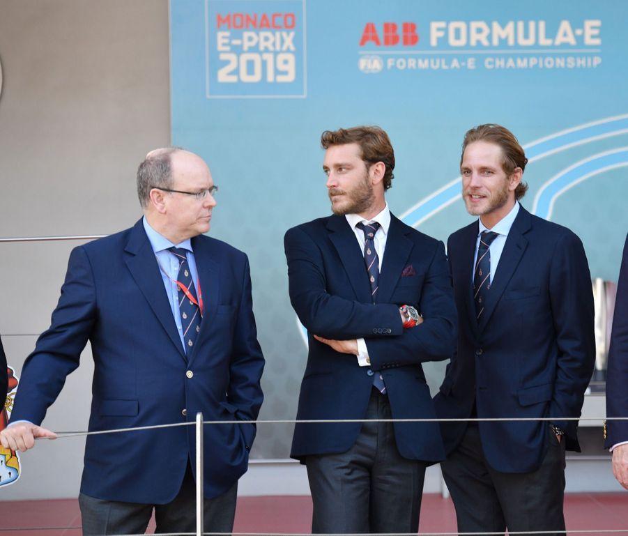 Le prince Albert II de Monaco et ses neveux Pierre Casiraghi et Andrea Casiraghi