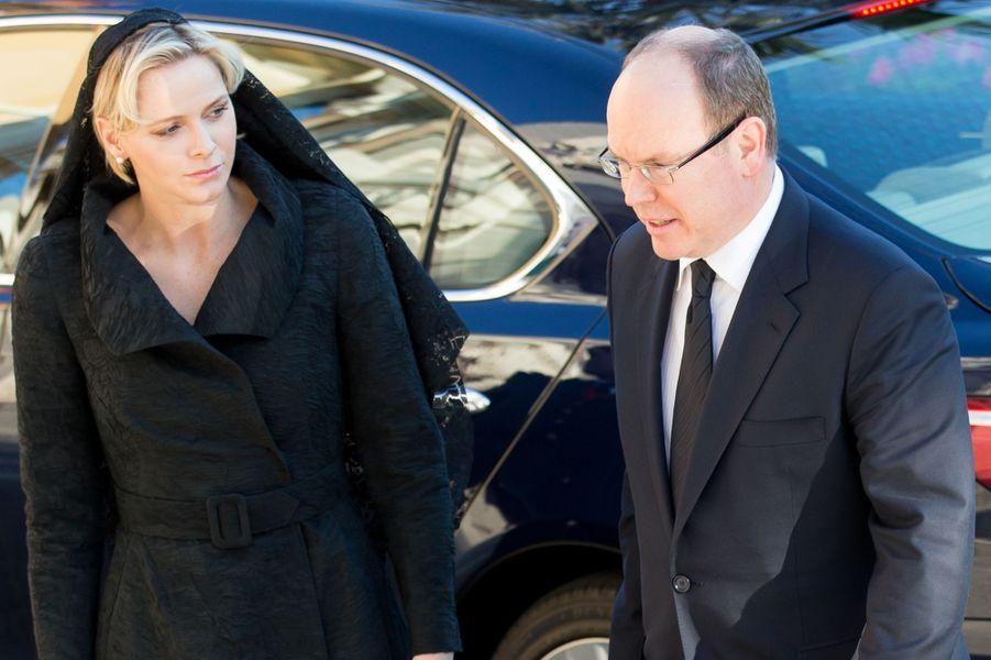 La princesse Charlène et le prince Albert II de Monaco, à Monaco le 7 avril 2015