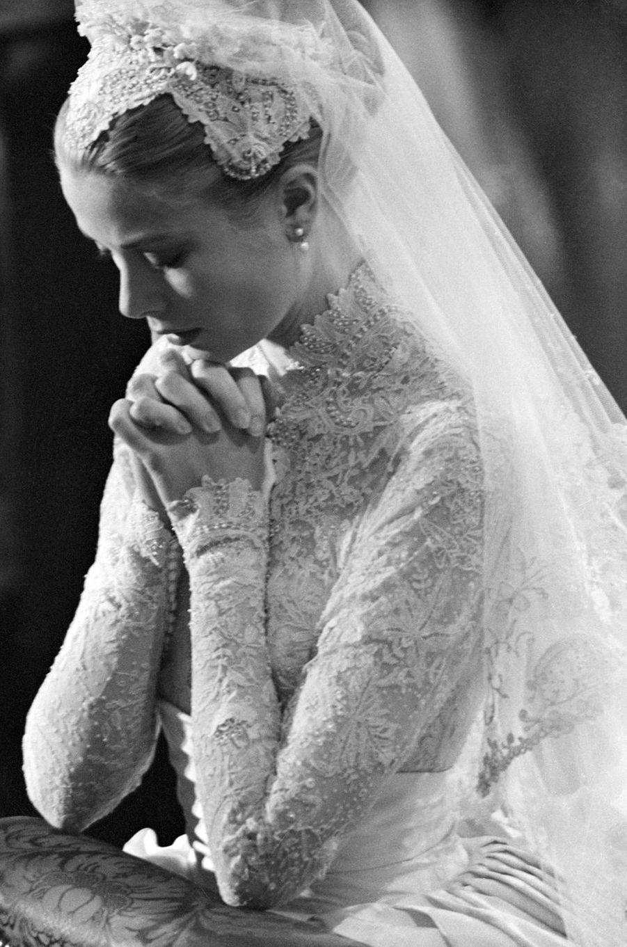 Grace Kelly à Monaco, le jour de son mariage le 19 avril 1956