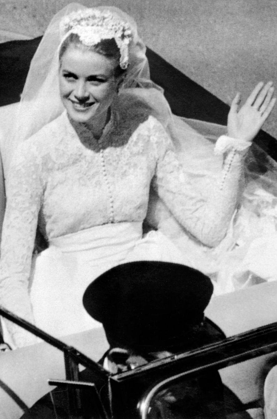 La princesse Grace de Monaco, le jour de son mariage le 19 avril 1956