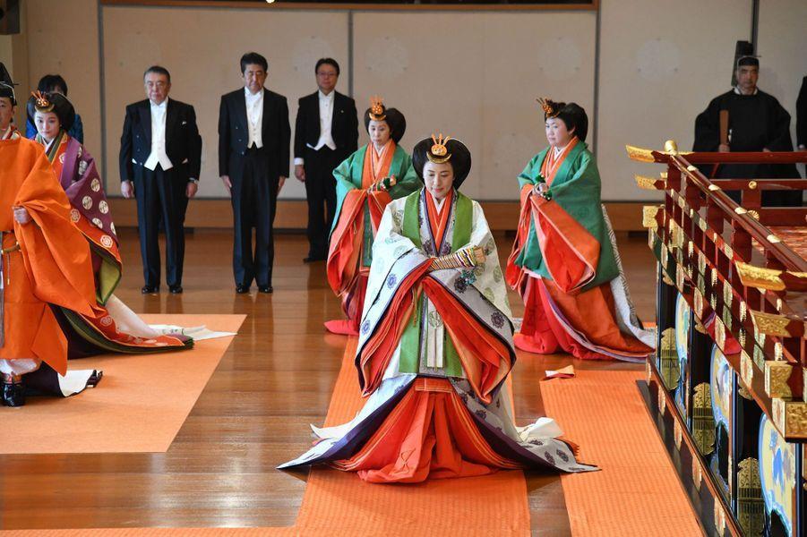 L'impératrice Masako du Japon lors de la cérémonie d'intronisation de son mari l'empereur Naruhito, le 22 octobre 2019