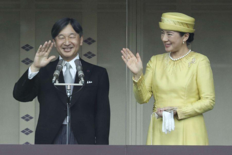 Masako du Japon, sa première apparition au balcon en tant qu'impératrice du Japon, le 4 mai 2019