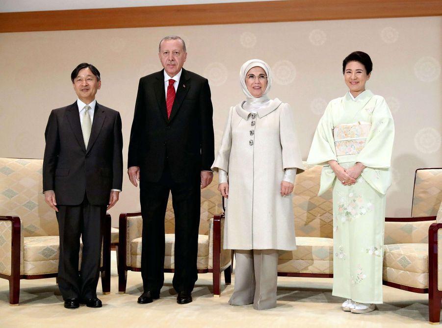 L'impératrice Masako du Japon avec son mari l'empereur Naruhito et le couple présidentiel turc, le 1er juillet 2019