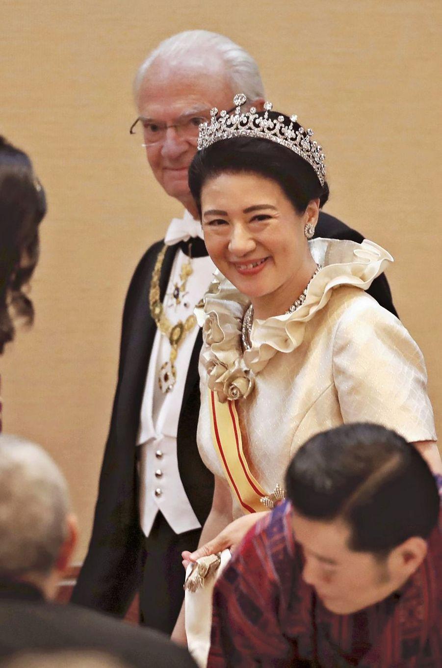 L'impératrice Masako du Japon lors du banquet, le soir de l'intronisation de son mari l'empereur Naruhito, le 22 octobre 2019