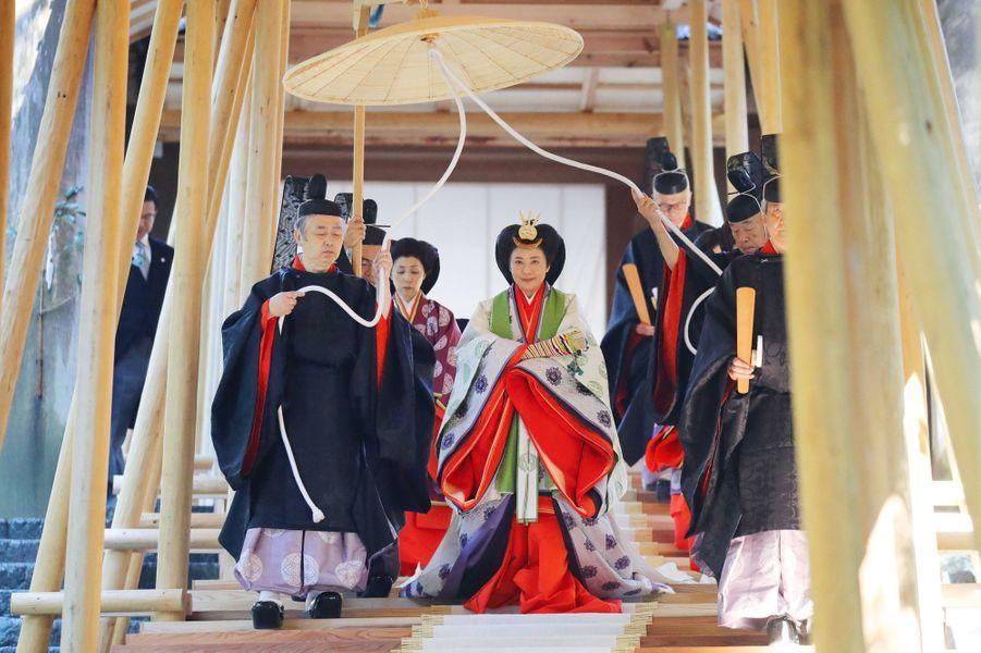 L'impératrice Masako du Japon au sanctuaire d'Ise lors des dernières cérémonies de l'intronisation, le 23 novembre 2019