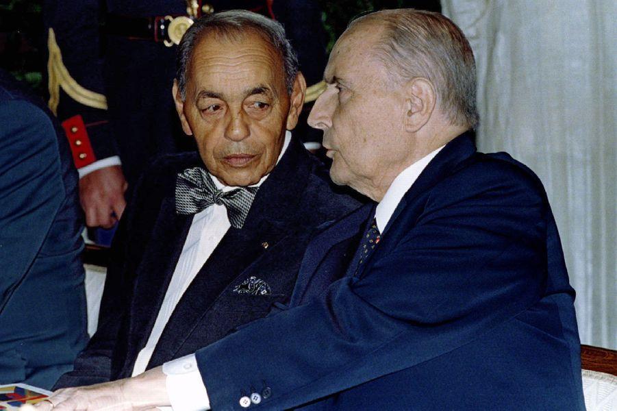 François Mitterrand avec le roi Hassan II du Maroc le 8 novembre 1994 à Biarritz