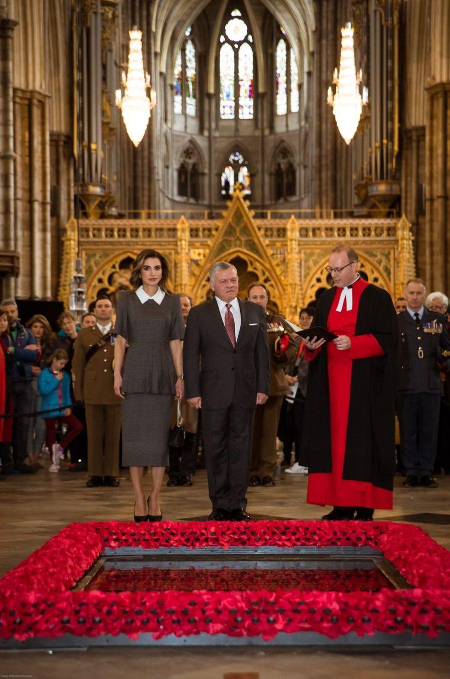 Le roi Abdallah II et la reine Rania de Jordanie à Londres, le 28 février 2019