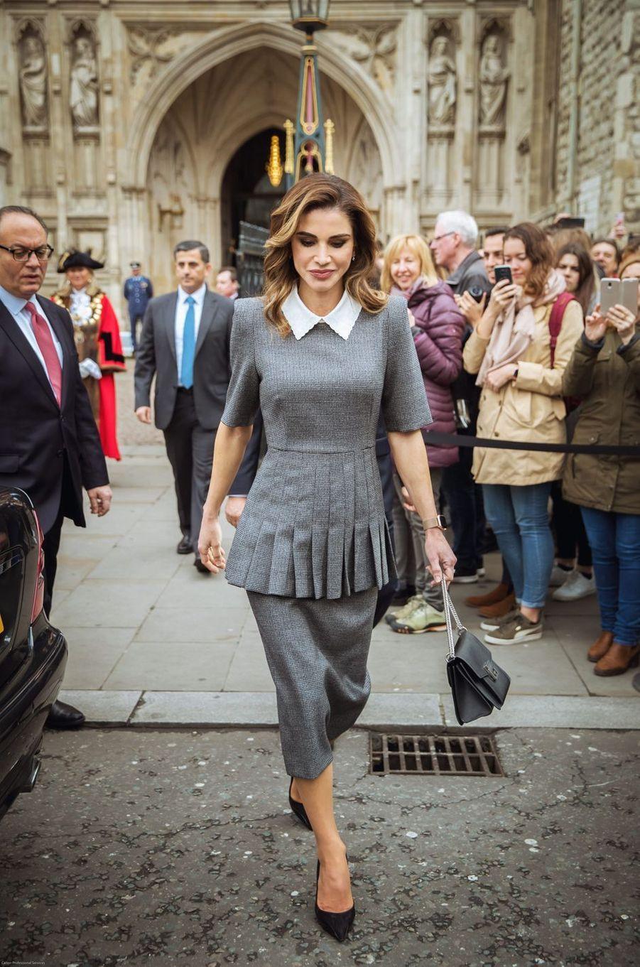 La reine Rania de Jordanie à Londres, le 28 février 2019