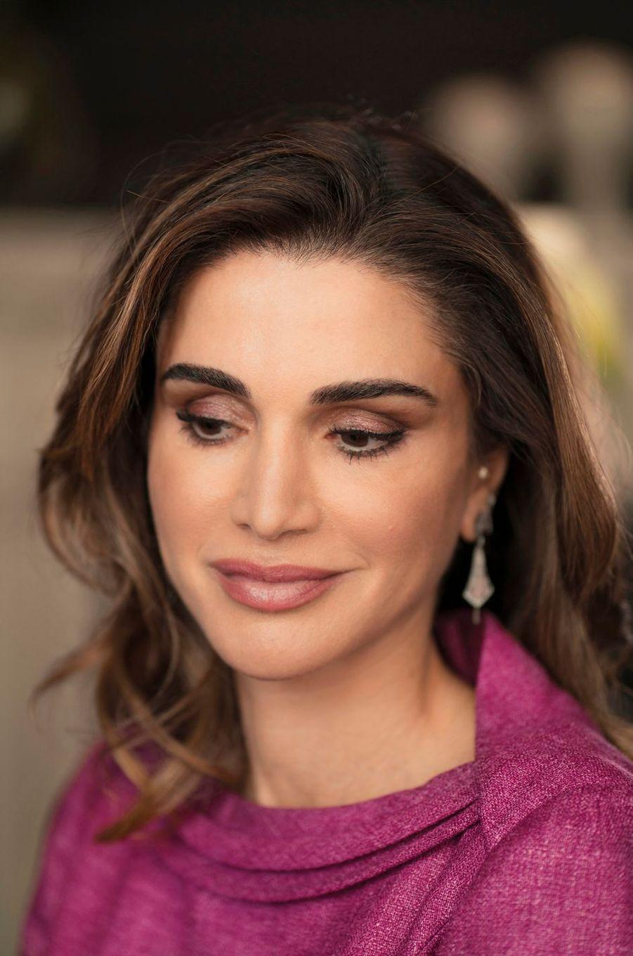 La reine Rania de Jordanie, le 28 février 2019 à Londres