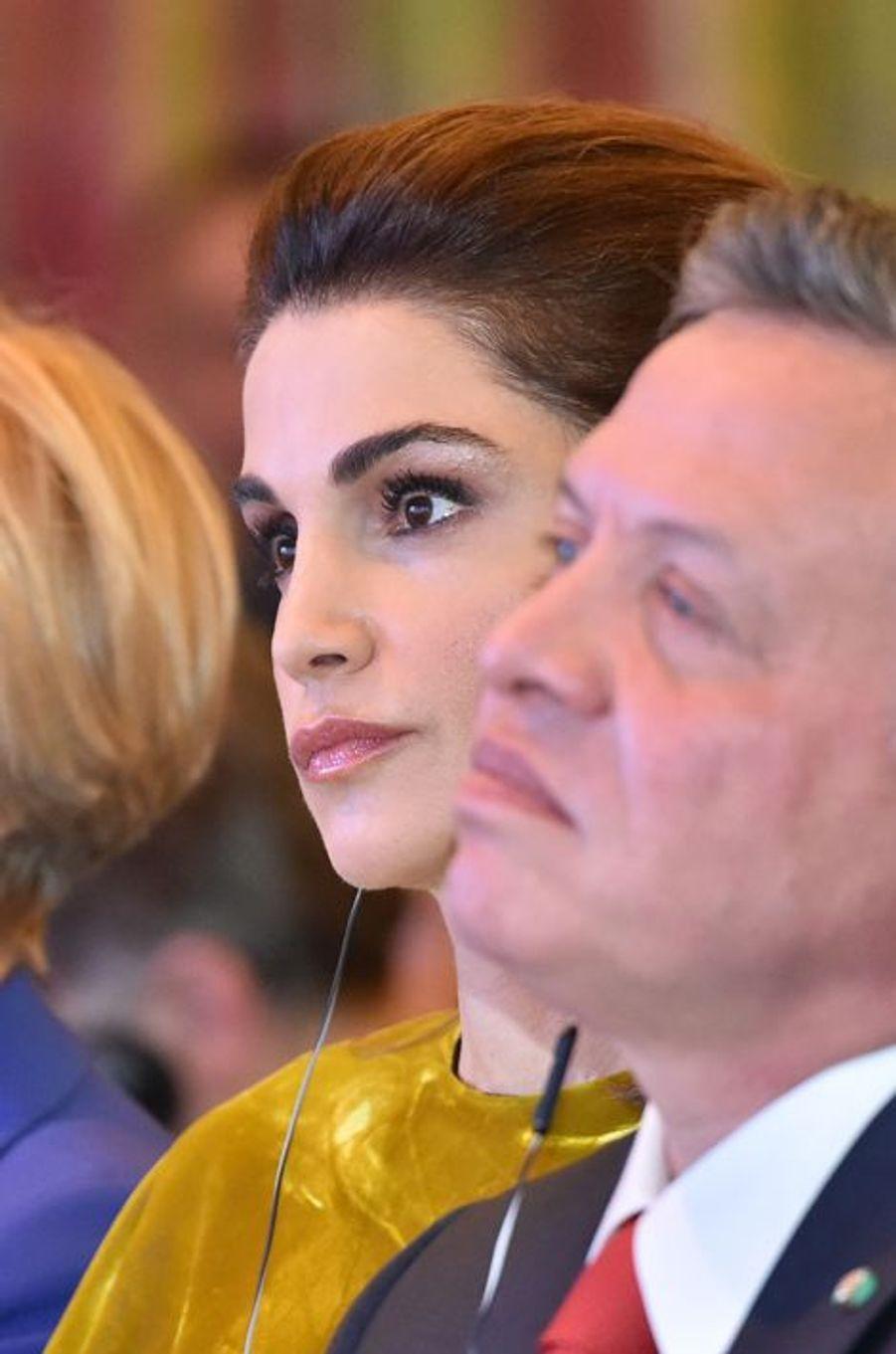 La reine Rania et le roi Abdallah II de Jordanie au forum Med 2015 à Rome, le 10 décembre 2015