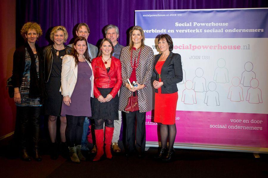 La reine Maxima des Pays-Bas lors d'un symposium à Utrecht, le 4 février 2015