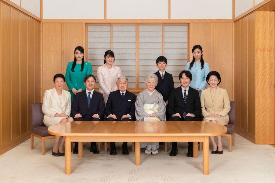 L'empereur Akihito du Japon et l'impératrice Michiko avec leur famille, le 3 décembre 2018