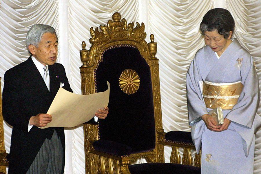 L'empereur Akihito du Japon et l'impératrice Michiko, le 29 novembre 2000