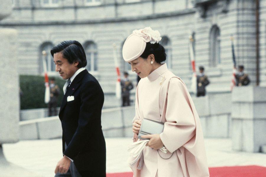 Le prince Akihito du Japon et la princesse Michiko, le 9 novembre 1983