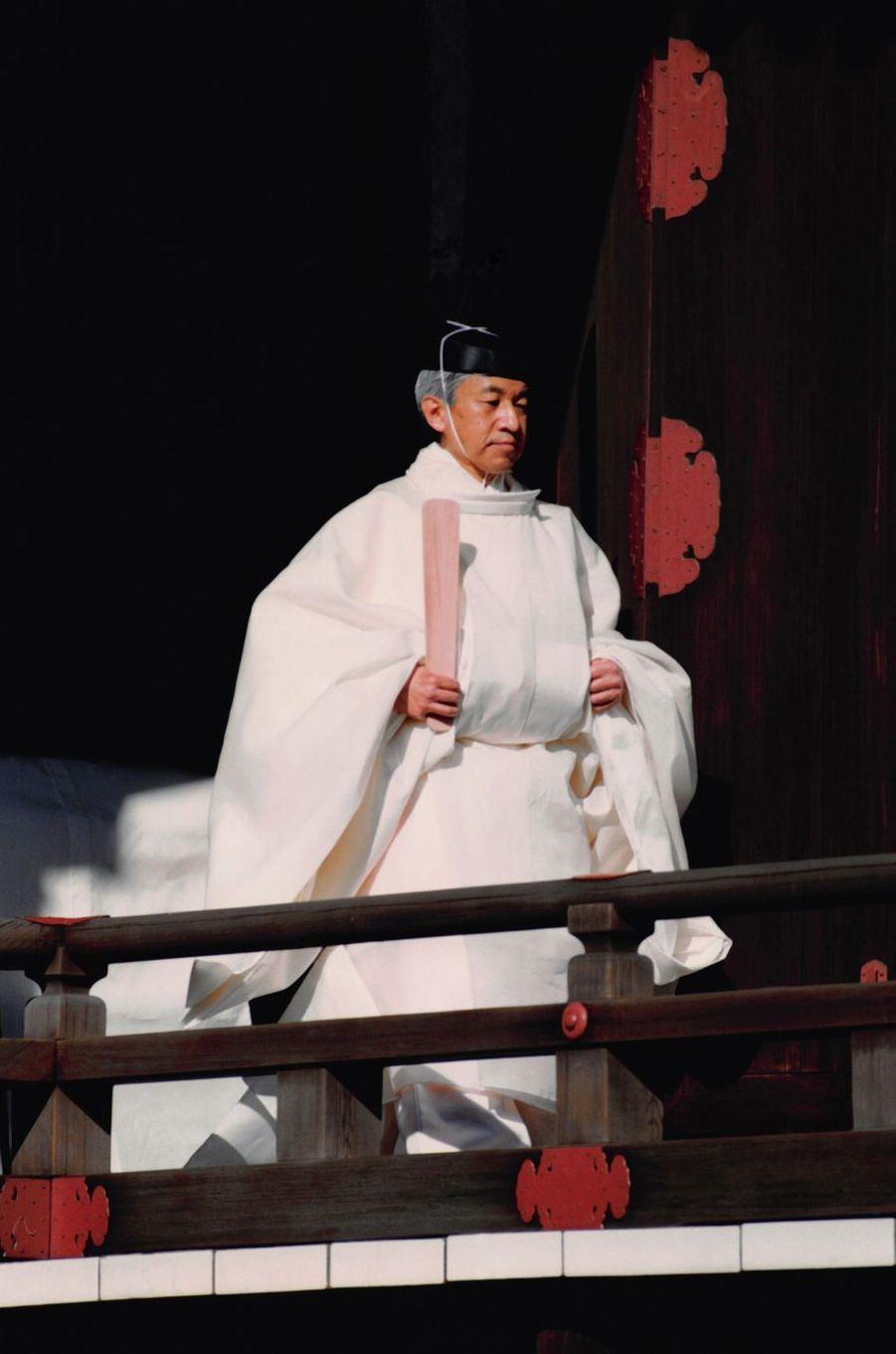 L'empereur Akihito du Japon, lors de son intronisation, le 12 novembre 1990