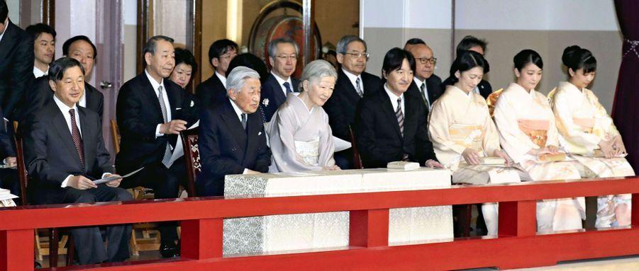 L'empereur Akihito et l'impératrice Michiko du Japon avec la famille impériale à Tokyo, le 18 mars 2019