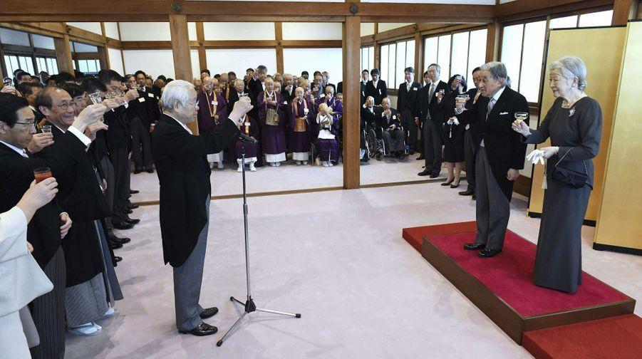 L'empereur Akihito et l'impératrice Michiko du Japon à Kyoto, le 25 mars 2019