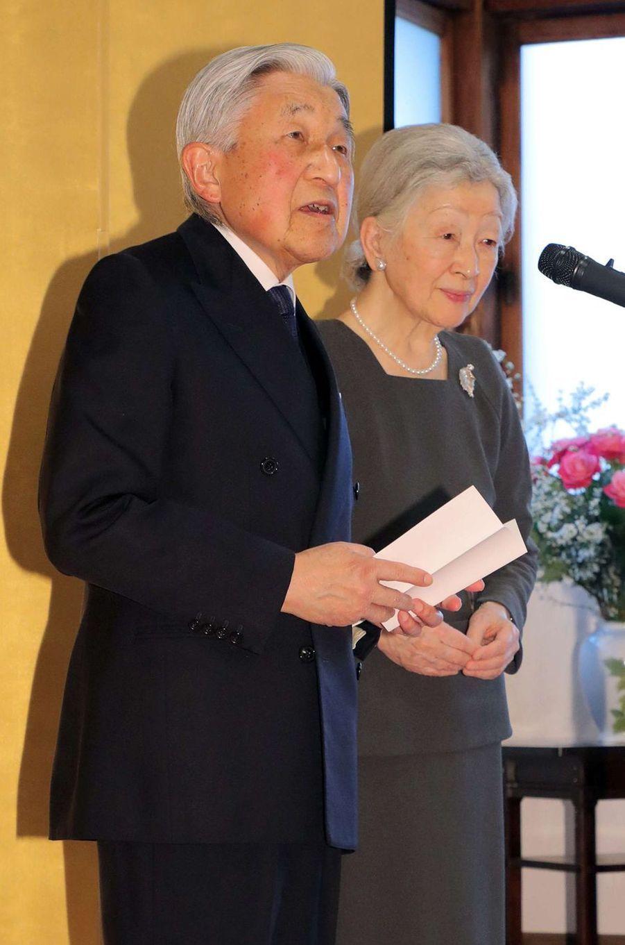 L'empereur Akihito et l'impératrice Michiko du Japon à Kyoto, le 27 mars 2019