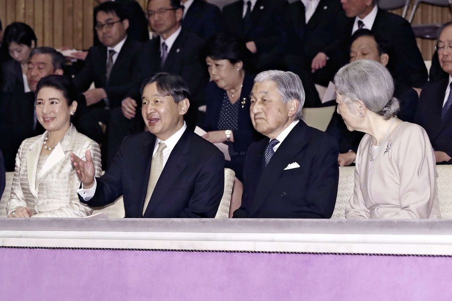 L'empereur Akihito et l'impératrice Michiko du Japon à Tokyo avec le prince Naruhito et la princesse Masako, le 2 avril 2019