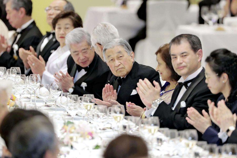 L'empereur Akihito du Japon au banquet du Japan Prize à Tokyo, le 8 avril 2019