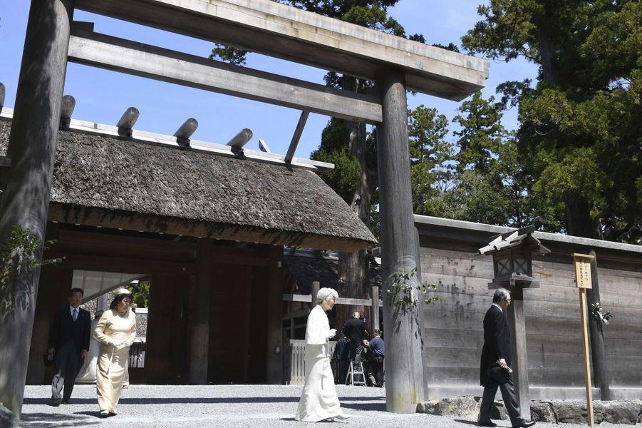 L'impératrice Michiko du Japon au sanctuaire d'Ise, le 18 avril 2019