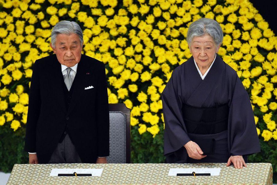 L'empereur Akihito et l'impératrice Michiko du Japon à Tokyo, le 15 août 2017