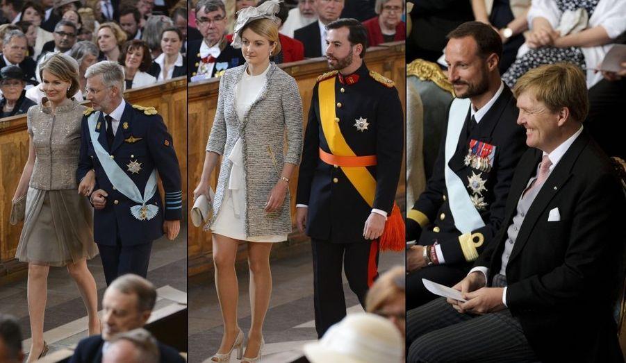 Le prince héritier de Belgique Philippe et la princesse Mathilde, le Grand-Duc héritier Guillaume du Luxembourg et la comtesse Stéphanie de Lannoy, sa fiancée, le prince héritier Haakon de Norvège et le prince héritier Willem Alexander des Pays-Bas.