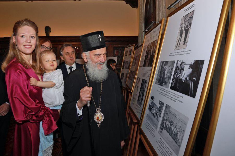 Le prince Stefan de Serbie avec sa mère Danica Marinkovic à Belgrade, le 15 décembre 2018