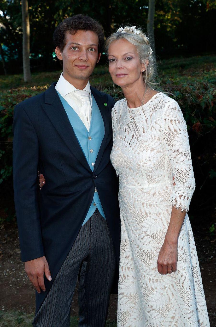 La princesse Hélène de Yougoslavie et son fils Léopold Gaubert à Tillay-le-Péneux, le 14 septembre 2018