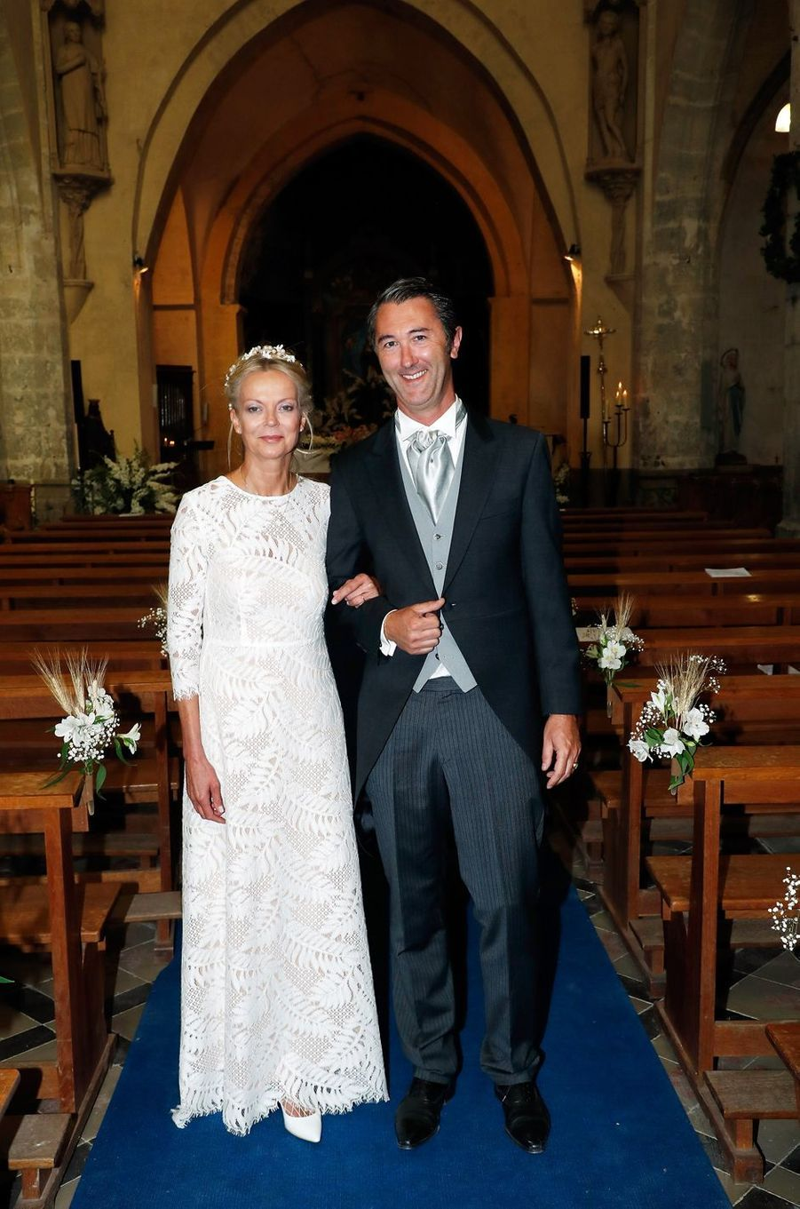 La princesse Hélène de Yougoslavie et Stanislas Fougeron dans l'église de Janville, le 14 septembre 2018