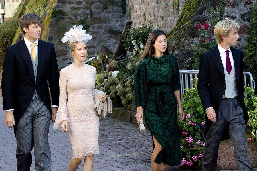 Les princes Ersnt Auguste junior et Christian de Hanovre avec leurs épouse et fiancée respectives à Amorbach, le 16 septembre 2017