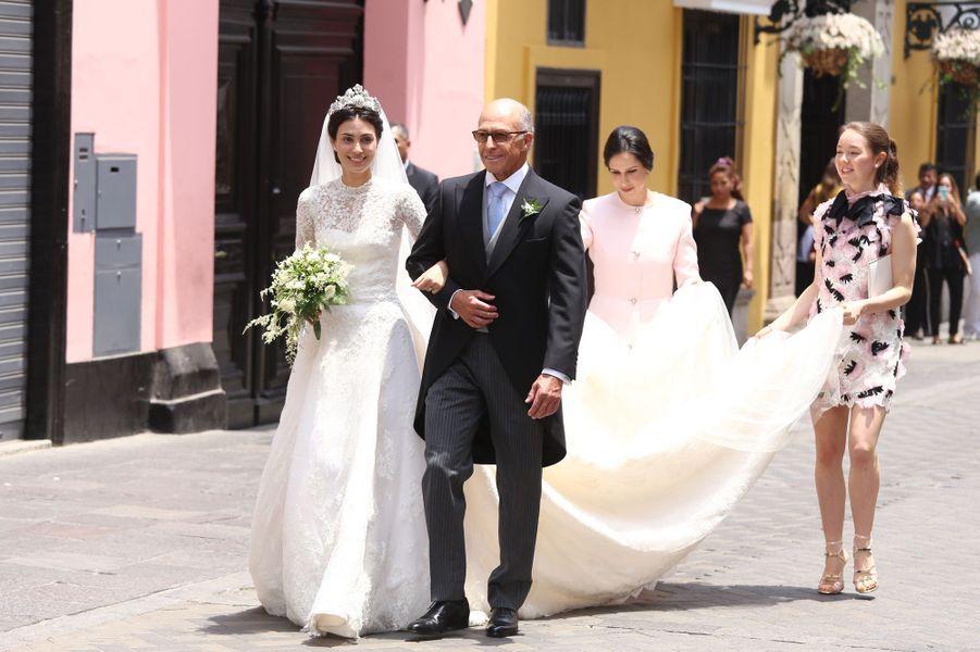 Alessandra de Osma, le jour de son mariage à Lima le 16 mars 2018, avec la princesse Alexandra de Hanovre