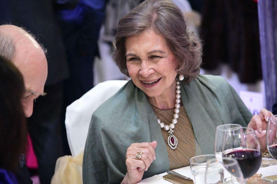 L'ex-reine Sofia d'Espagne au mariage du prince Filip de Serbie et de Danica Marinkovic à Belgrade, le 7 octobre 2017