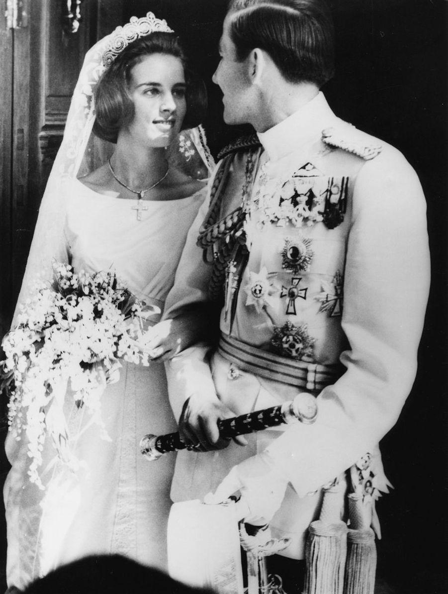 Le roi Constantin II de Grèce et la princesse Anne-Marie de Danemark, à Athènes le 18 septembre 1964