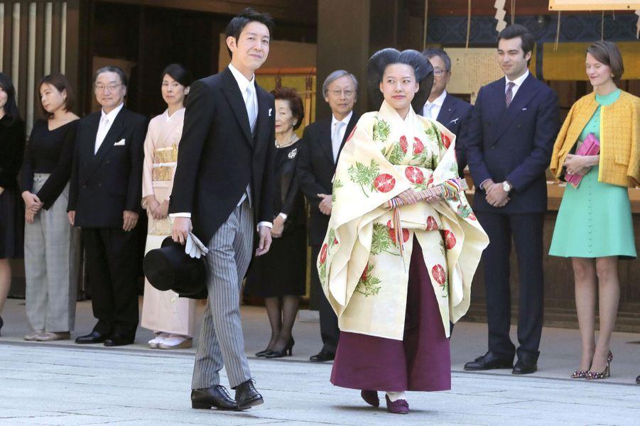 La princesse Ayako du Japon et Kei Komuro lors de leur mariage, le 29 octobre 2018 à Tokyo
