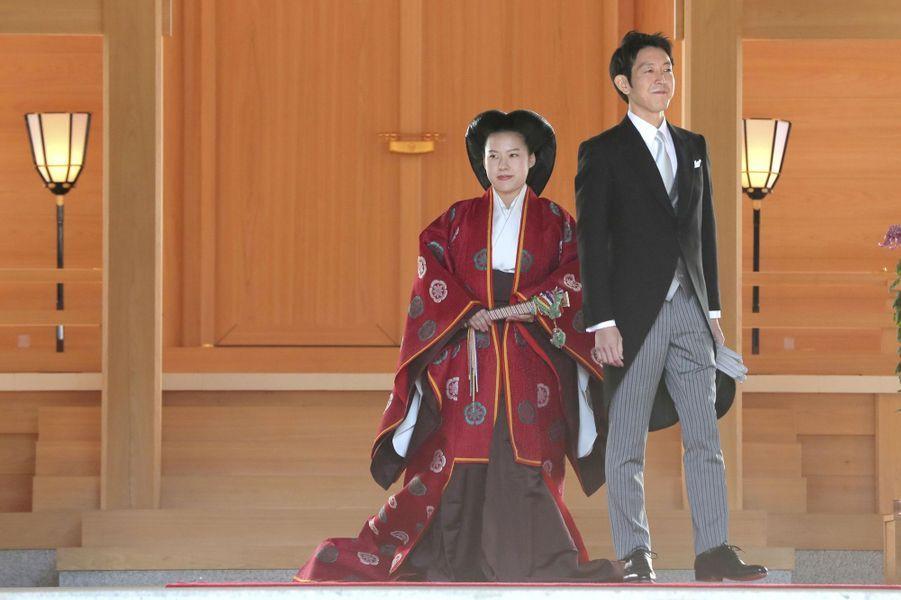 La princesse Ayako du Japon et Kei Komuro lors de leur mariage à Tokyo, le 29 octobre 2018