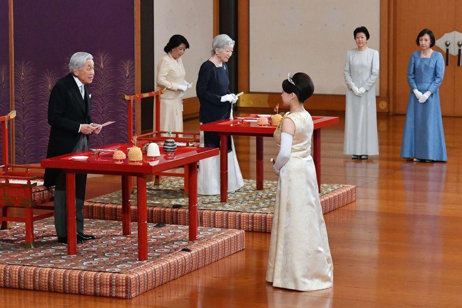 La princesse Ayako avec l'empereur Akihito et l'impératrice Michiko du Japon à Tokyo, le 26 octobre 2018