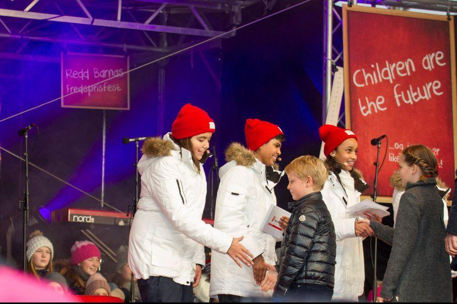 Le prince Sverre Magnus et la princesse Ingrid Alexandra à Oslo le 10 décembre 2014