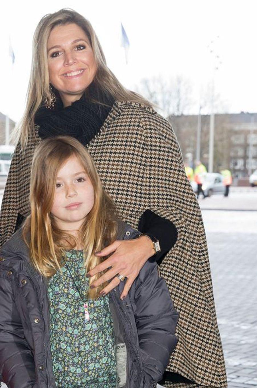 La reine Maxima et la princesse Alexia au Jumping Amsterdam, le 1er février 2015