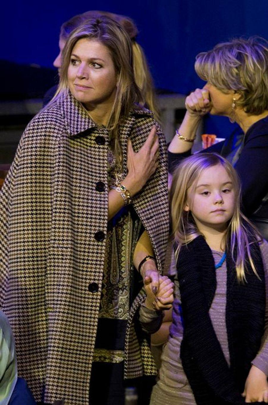 La reine Maxima et la princesses Ariane au Jumping Amsterdam, le 1er février 2015